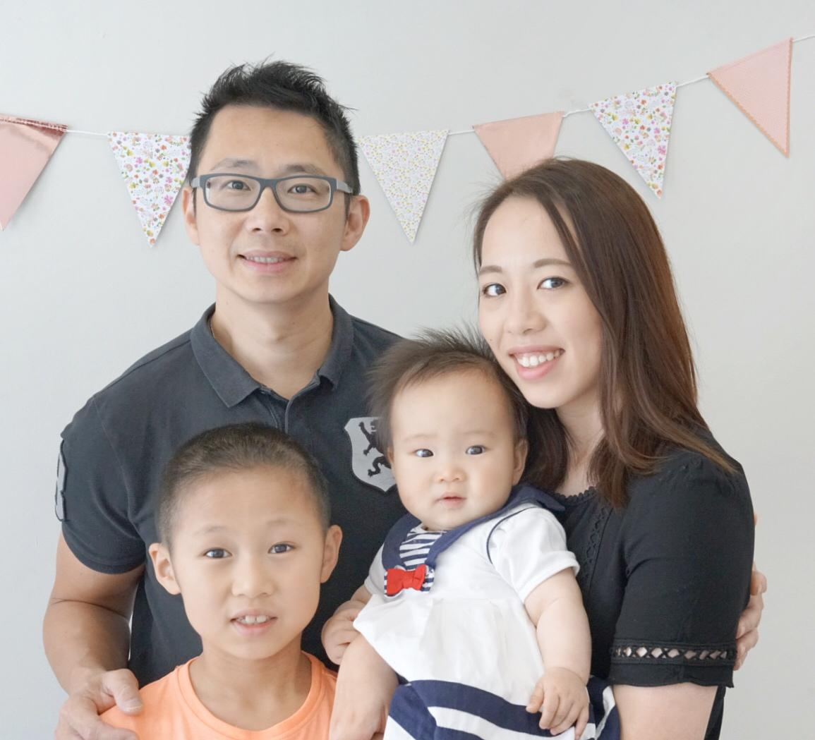 Pastor Wong with wife Amy, Daniel and Sophie